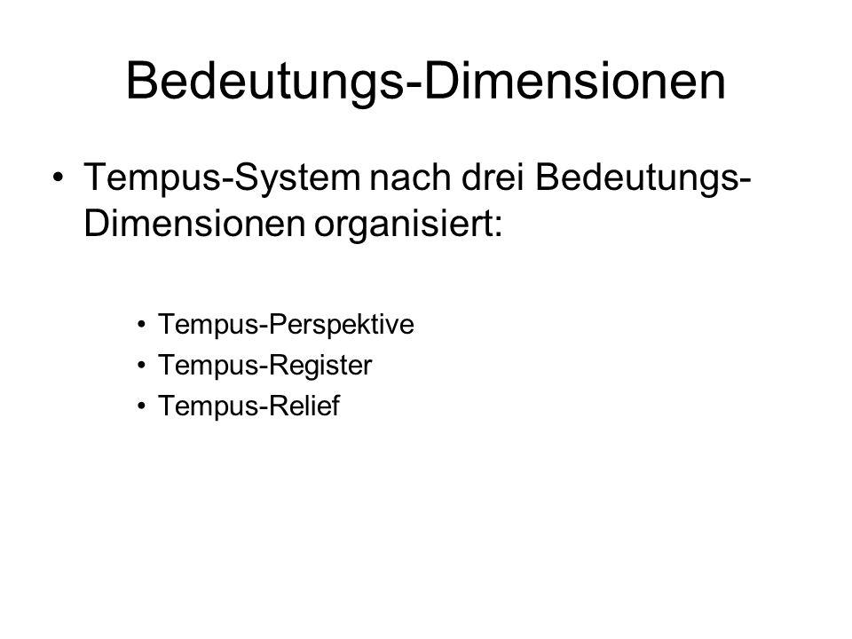 Bedeutungs-Dimensionen Tempus-System nach drei Bedeutungs- Dimensionen organisiert: Tempus-Perspektive Tempus-Register Tempus-Relief