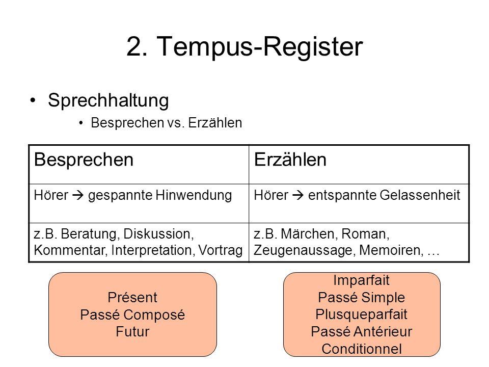 2. Tempus-Register Sprechhaltung Besprechen vs. Erzählen BesprechenErzählen Hörer gespannte HinwendungHörer entspannte Gelassenheit z.B. Beratung, Dis