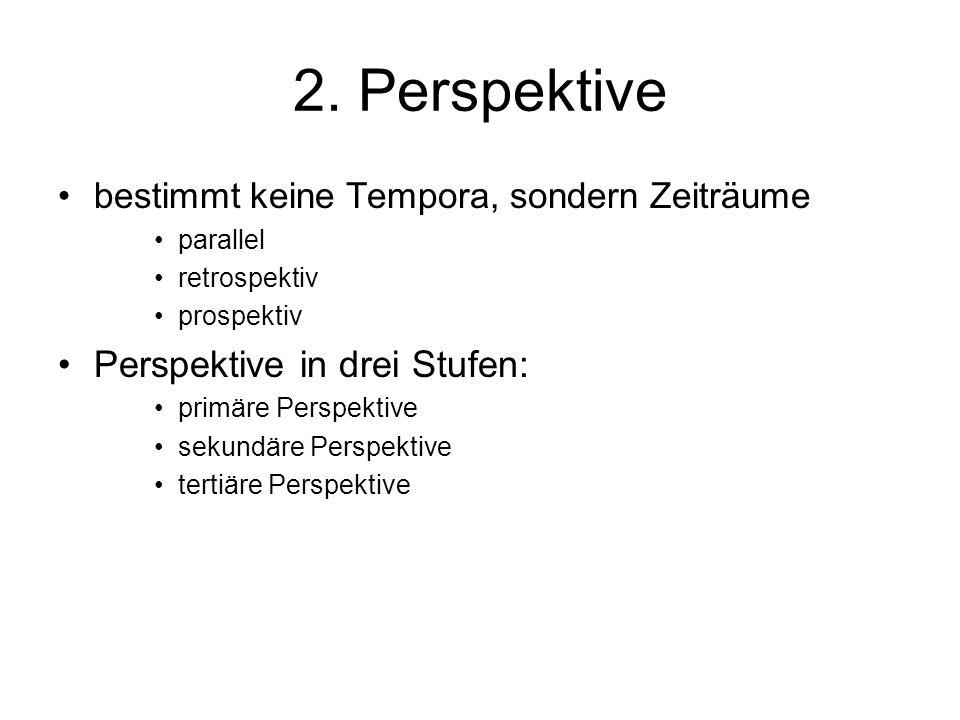 2. Perspektive bestimmt keine Tempora, sondern Zeiträume parallel retrospektiv prospektiv Perspektive in drei Stufen: primäre Perspektive sekundäre Pe