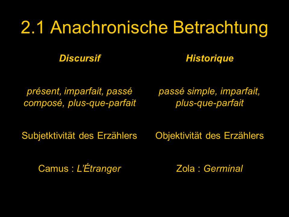 2.1 Anachronische Betrachtung DiscursifHistorique présent, imparfait, passé composé, plus-que-parfait passé simple, imparfait, plus-que-parfait Subjet