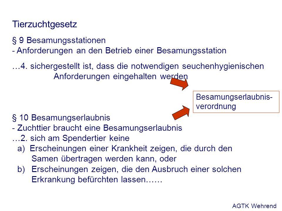 Tierzuchtgesetz § 9 Besamungsstationen - Anforderungen an den Betrieb einer Besamungsstation …4.