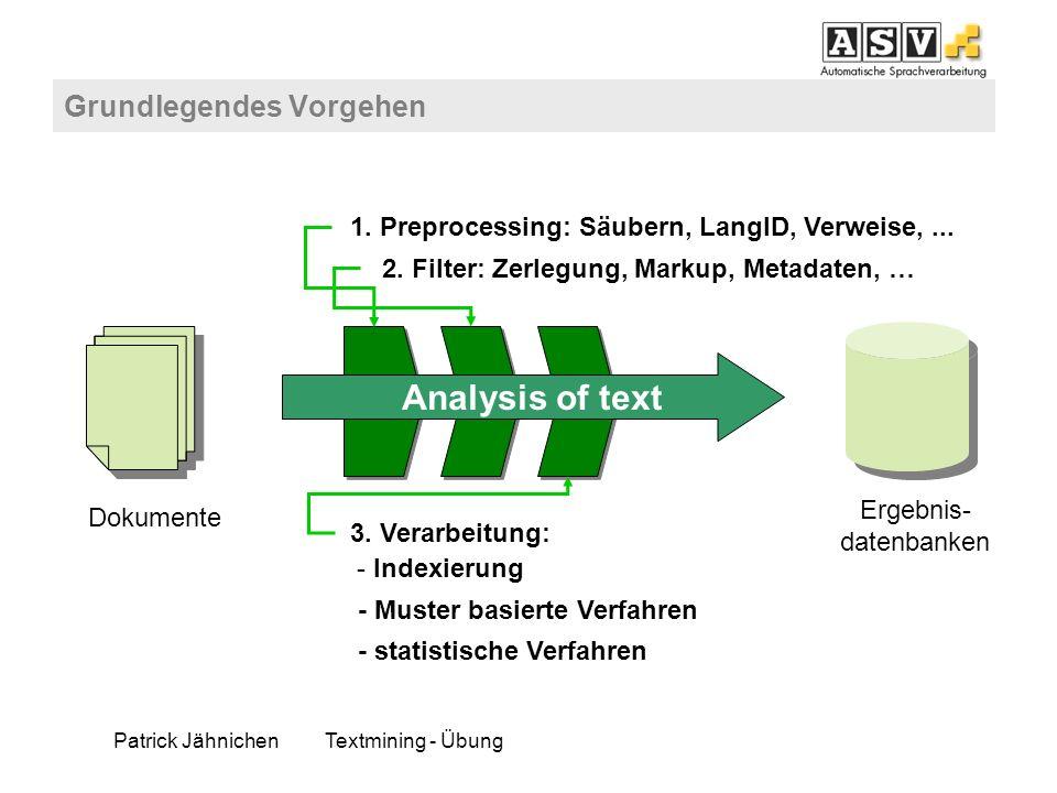 Patrick JähnichenTextmining - Übung Grundlegendes Vorgehen Dokumente Ergebnis- datenbanken 1. Preprocessing: Säubern, LangID, Verweise,... 2. Filter: