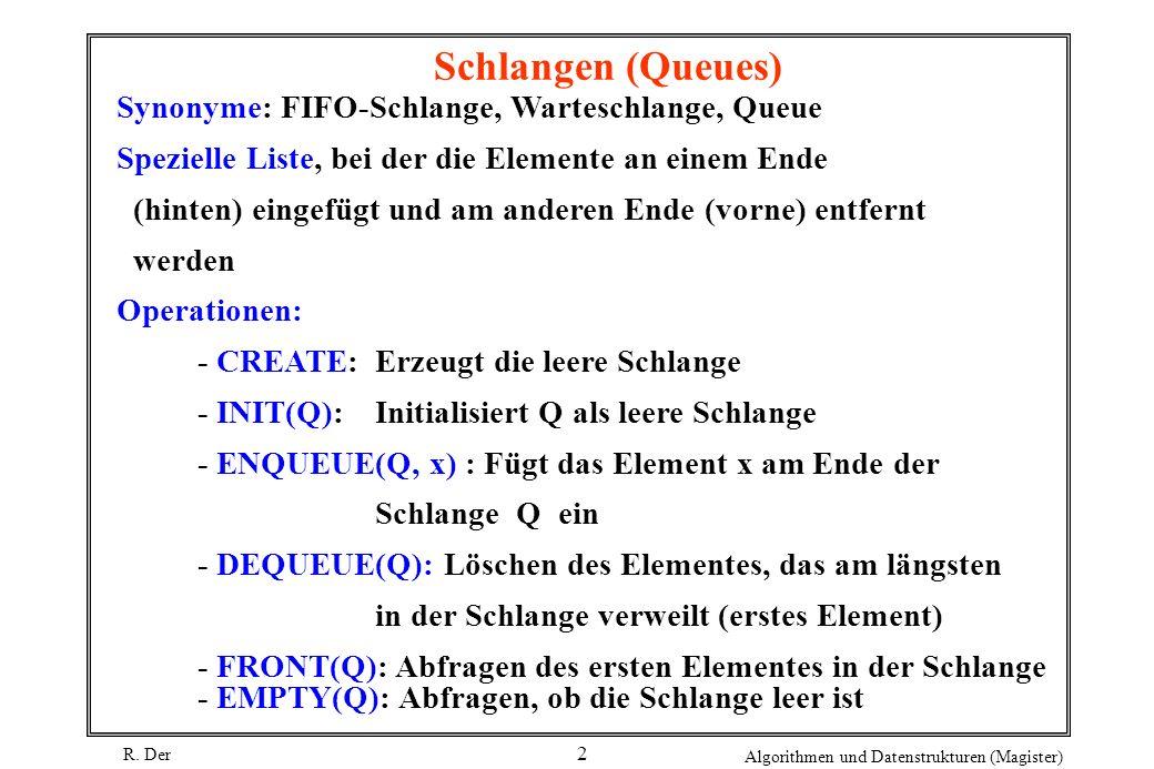 R. Der Algorithmen und Datenstrukturen (Magister) 2 Schlangen (Queues) Synonyme: FIFO-Schlange, Warteschlange, Queue Spezielle Liste, bei der die Elem