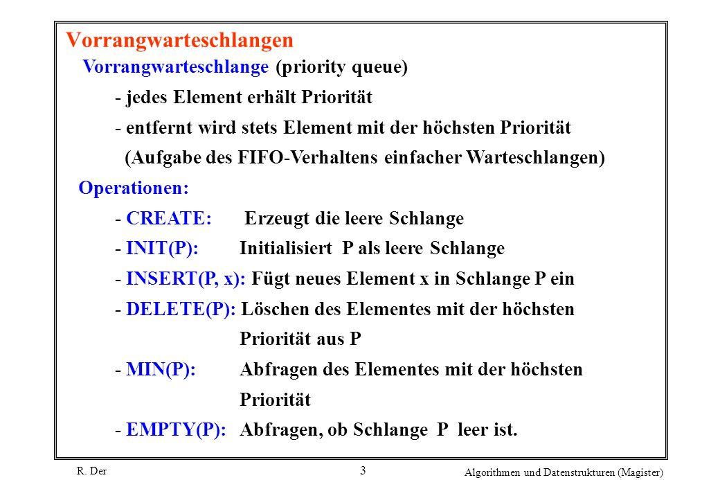 R. Der Algorithmen und Datenstrukturen (Magister) 3 Vorrangwarteschlangen Vorrangwarteschlange (priority queue) - jedes Element erhält Priorität - ent