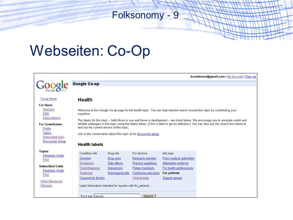 Webseiten: Co-Op Folksonomy - 9