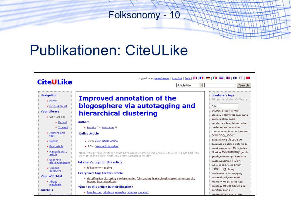 Publikationen: CiteULike Folksonomy - 10