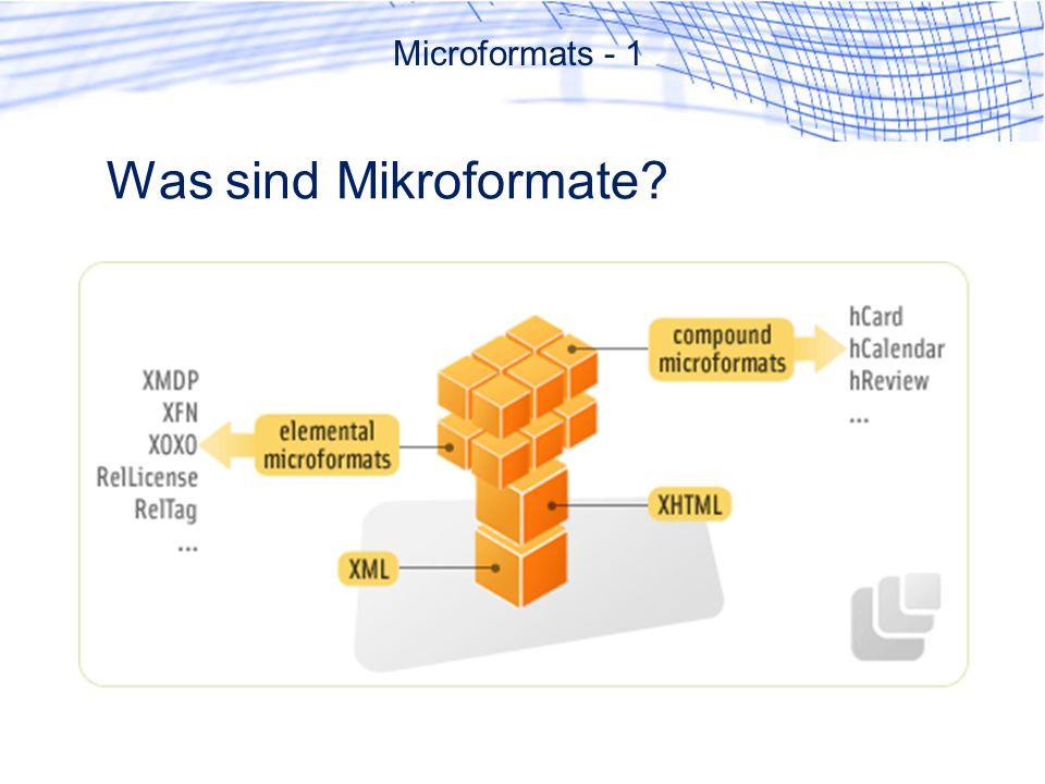 Was sind Mikroformate? Microformats - 1