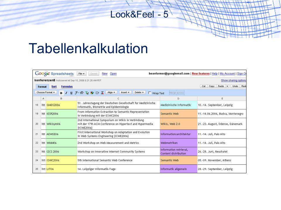 Tabellenkalkulation Look&Feel - 5