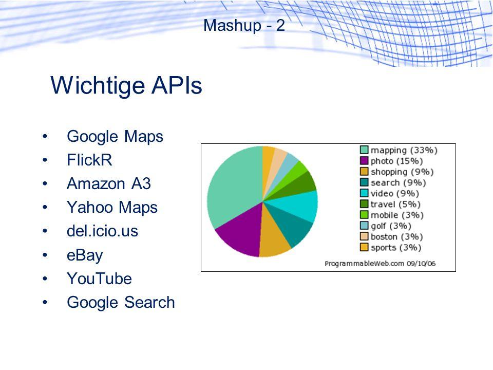 Wichtige APIs Mashup - 2 Google Maps FlickR Amazon A3 Yahoo Maps del.icio.us eBay YouTube Google Search