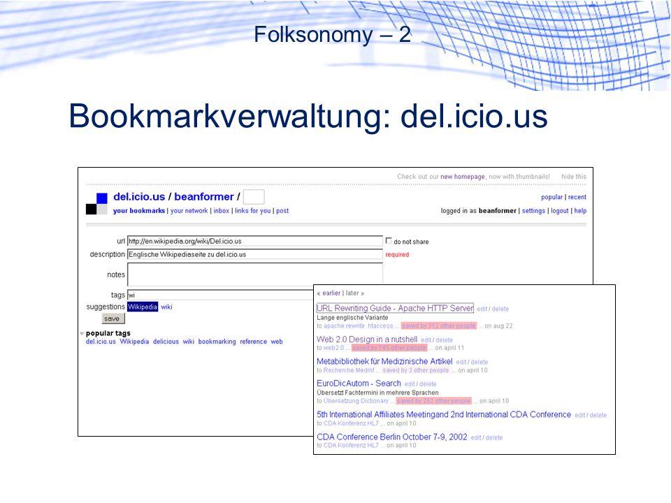 Bookmarkverwaltung: del.icio.us Folksonomy – 2