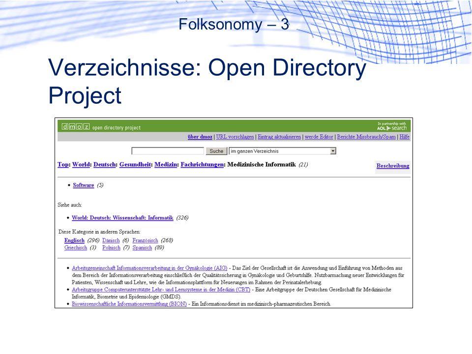Verzeichnisse: Open Directory Project Folksonomy – 3