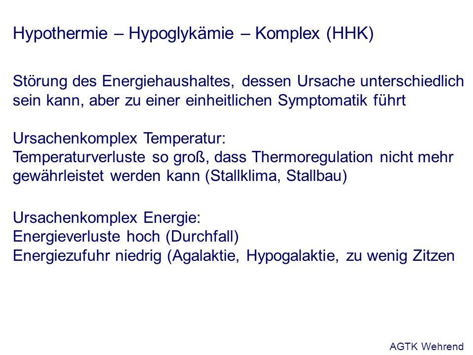 Hypothermie – Hypoglykämie – Komplex (HHK) Störung des Energiehaushaltes, dessen Ursache unterschiedlich sein kann, aber zu einer einheitlichen Symptomatik führt Ursachenkomplex Temperatur: Temperaturverluste so groß, dass Thermoregulation nicht mehr gewährleistet werden kann (Stallklima, Stallbau) Ursachenkomplex Energie: Energieverluste hoch (Durchfall) Energiezufuhr niedrig (Agalaktie, Hypogalaktie, zu wenig Zitzen AGTK Wehrend