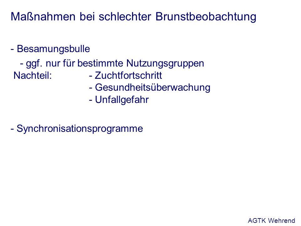 Maßnahmen bei schlechter Brunstbeobachtung - Besamungsbulle - ggf. nur für bestimmte Nutzungsgruppen Nachteil:- Zuchtfortschritt - Gesundheitsüberwach