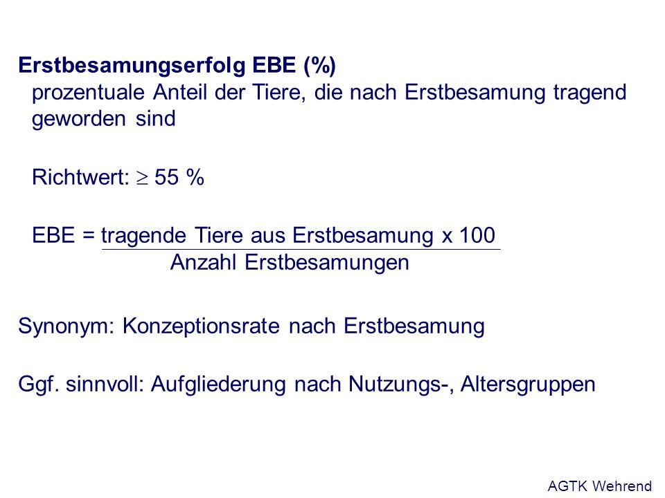 Erstbesamungserfolg EBE (%) prozentuale Anteil der Tiere, die nach Erstbesamung tragend geworden sind Richtwert: 55 % EBE = tragende Tiere aus Erstbesamung x 100 Anzahl Erstbesamungen Synonym: Konzeptionsrate nach Erstbesamung Ggf.