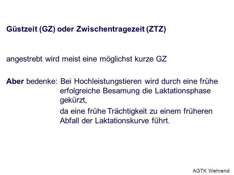 Güstzeit (GZ) oder Zwischentragezeit (ZTZ) angestrebt wird meist eine möglichst kurze GZ Aber bedenke: Bei Hochleistungstieren wird durch eine frühe e