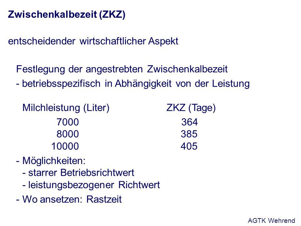 Zwischenkalbezeit (ZKZ) entscheidender wirtschaftlicher Aspekt Festlegung der angestrebten Zwischenkalbezeit - betriebsspezifisch in Abhängigkeit von
