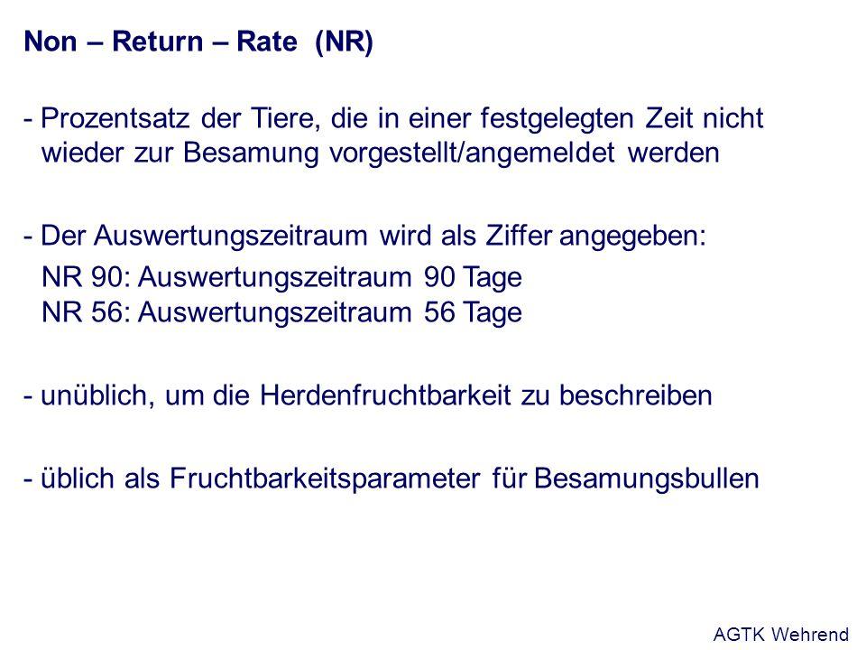 Non – Return – Rate (NR) - Prozentsatz der Tiere, die in einer festgelegten Zeit nicht wieder zur Besamung vorgestellt/angemeldet werden - Der Auswert