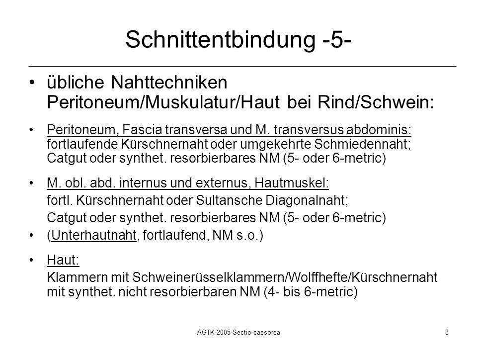 AGTK-2005-Sectio-caesorea8 Schnittentbindung -5- übliche Nahttechniken Peritoneum/Muskulatur/Haut bei Rind/Schwein: Peritoneum, Fascia transversa und
