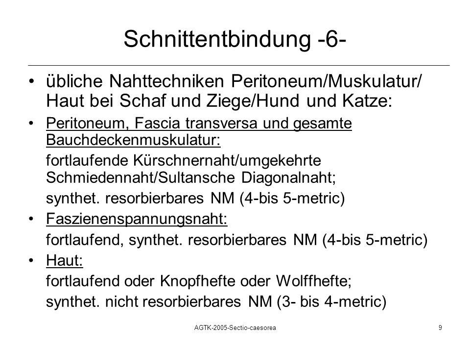 AGTK-2005-Sectio-caesorea9 Schnittentbindung -6- übliche Nahttechniken Peritoneum/Muskulatur/ Haut bei Schaf und Ziege/Hund und Katze: Peritoneum, Fas