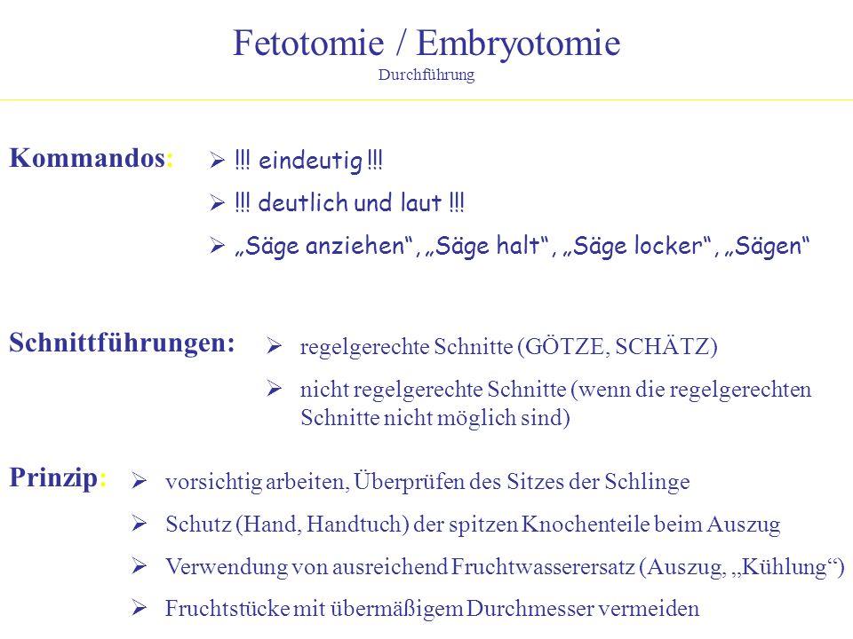 Fetotomie / Embryotomie Durchführung Kommandos: !!! eindeutig !!! !!! deutlich und laut !!! Säge anziehen, Säge halt, Säge locker, Sägen Schnittführun