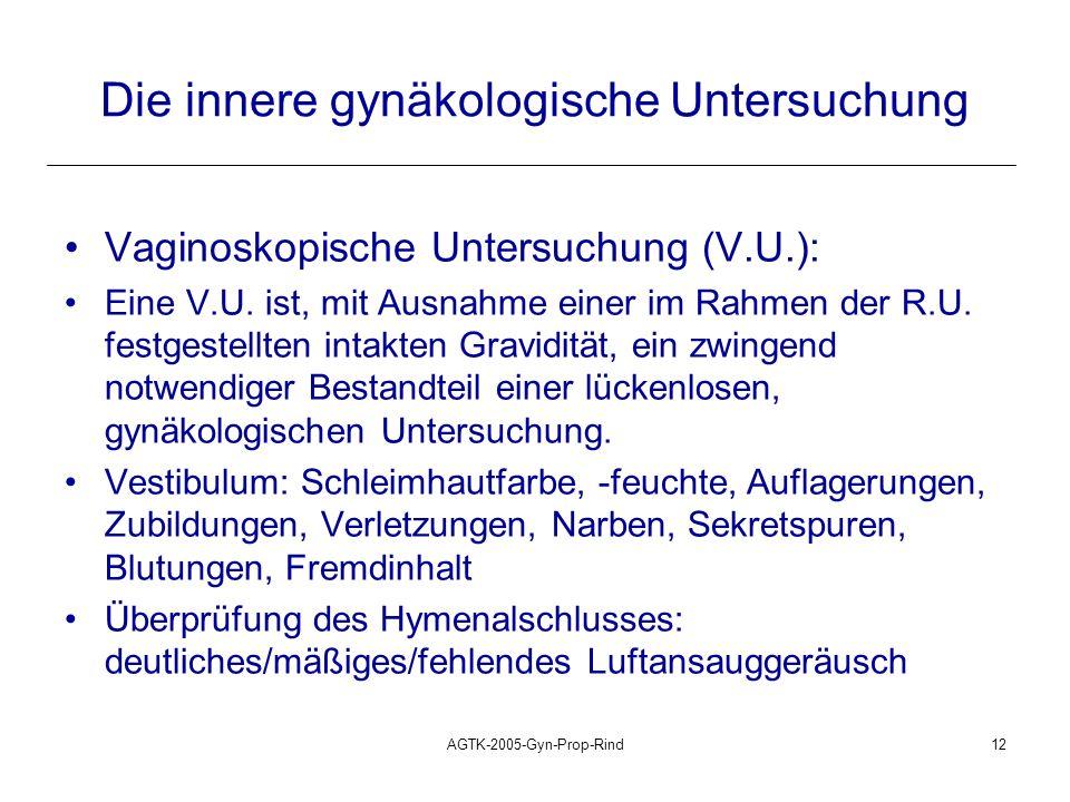 AGTK-2005-Gyn-Prop-Rind12 Die innere gynäkologische Untersuchung Vaginoskopische Untersuchung (V.U.): Eine V.U. ist, mit Ausnahme einer im Rahmen der