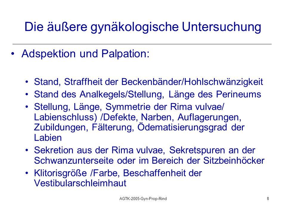 AGTK-2005-Gyn-Prop-Rind9 Die innere gynäkologische Untersuchung Rektale Untersuchung (R.U.): Uterus: Lage: intra-/anteriopelvin/komplett abdominal Größe: unter der Hand zu versammeln/ umfassbar/ abgrenzbar/ nicht abgrenzbar Symmetrie der Uterushörner: symmetrisch/ geringgradige/ hochgradige Asymmetrie Tonus (zyklusabhängig): schlaff/mäßig tonisiert/tonisiert/hart Wandung: dünnwandig/dickwandig/doppelwandig Oberfläche: glatt/rauh/Schneeballkirschen Verschieblichkeit: verschieblich/in Teilen verschieblich/ wie angewachsen Inhalt: keiner/Fluktuation/Fruchtteile/Plazentome