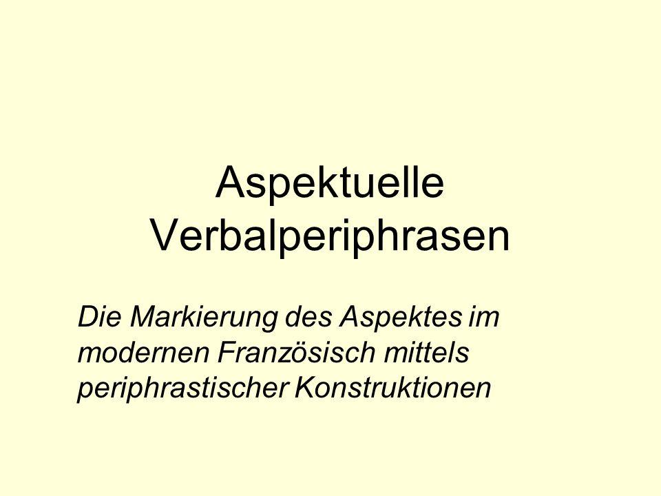 0.Gliederung 1.Begriffsklärung 2.Kategorisierung von aspektuellen Verbalperiphrasen Modell von E.