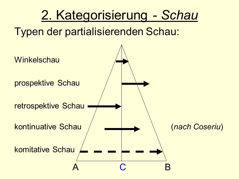 2. Kategorisierung - Schau Typen der partialisierenden Schau: Winkelschau prospektive Schau retrospektive Schau kontinuative Schau (nach Coseriu) komi