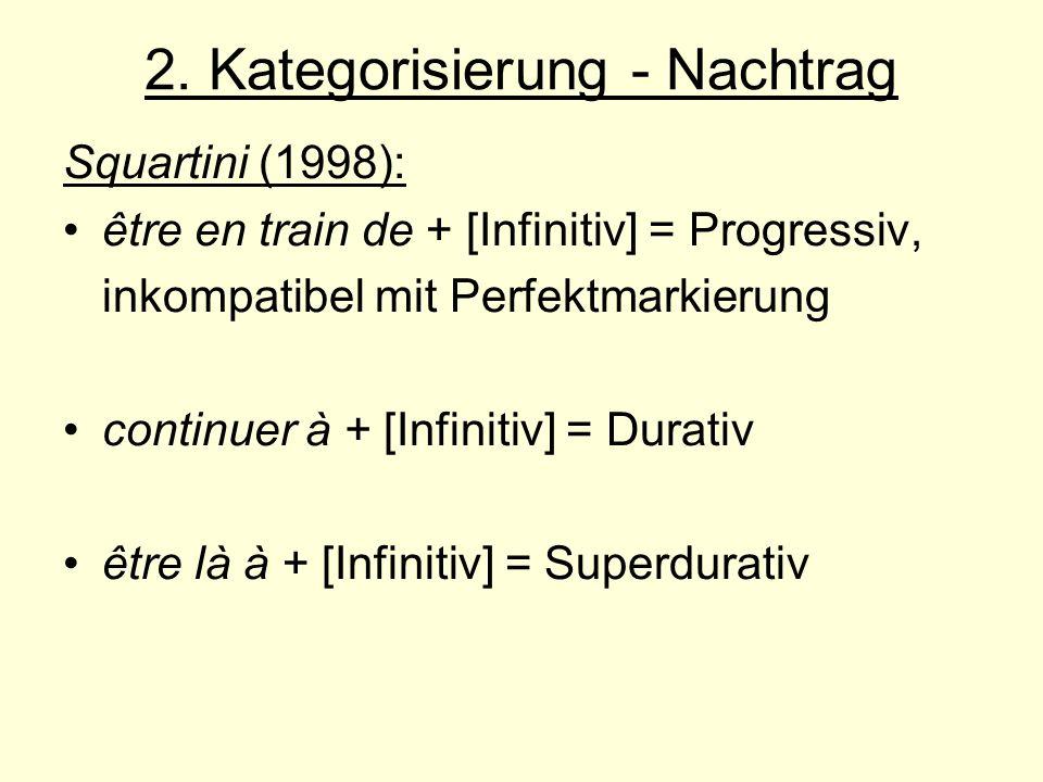 2. Kategorisierung - Nachtrag Squartini (1998): être en train de + [Infinitiv] = Progressiv, inkompatibel mit Perfektmarkierung continuer à + [Infinit