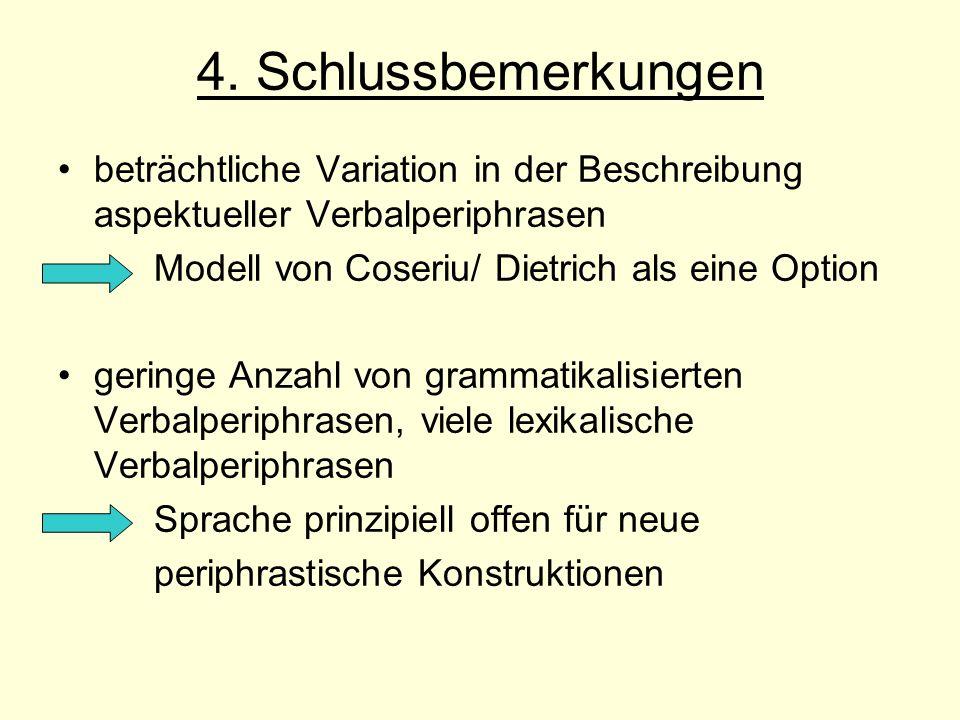 4. Schlussbemerkungen beträchtliche Variation in der Beschreibung aspektueller Verbalperiphrasen Modell von Coseriu/ Dietrich als eine Option geringe