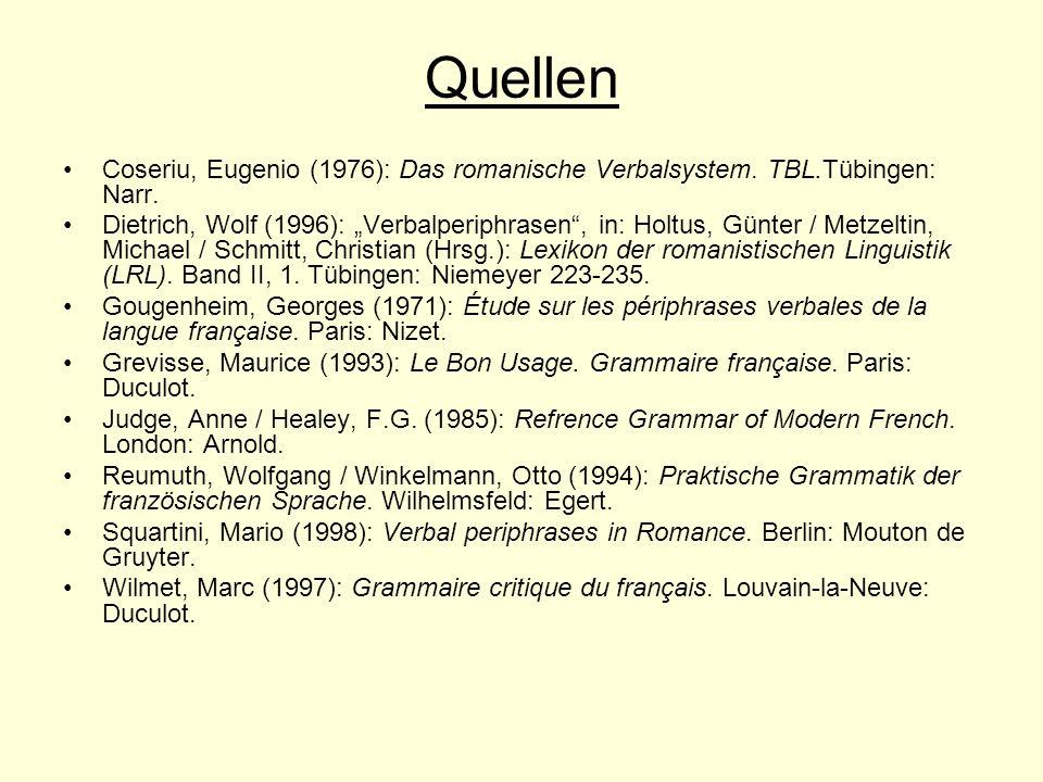 Quellen Coseriu, Eugenio (1976): Das romanische Verbalsystem. TBL.Tübingen: Narr. Dietrich, Wolf (1996): Verbalperiphrasen, in: Holtus, Günter / Metze