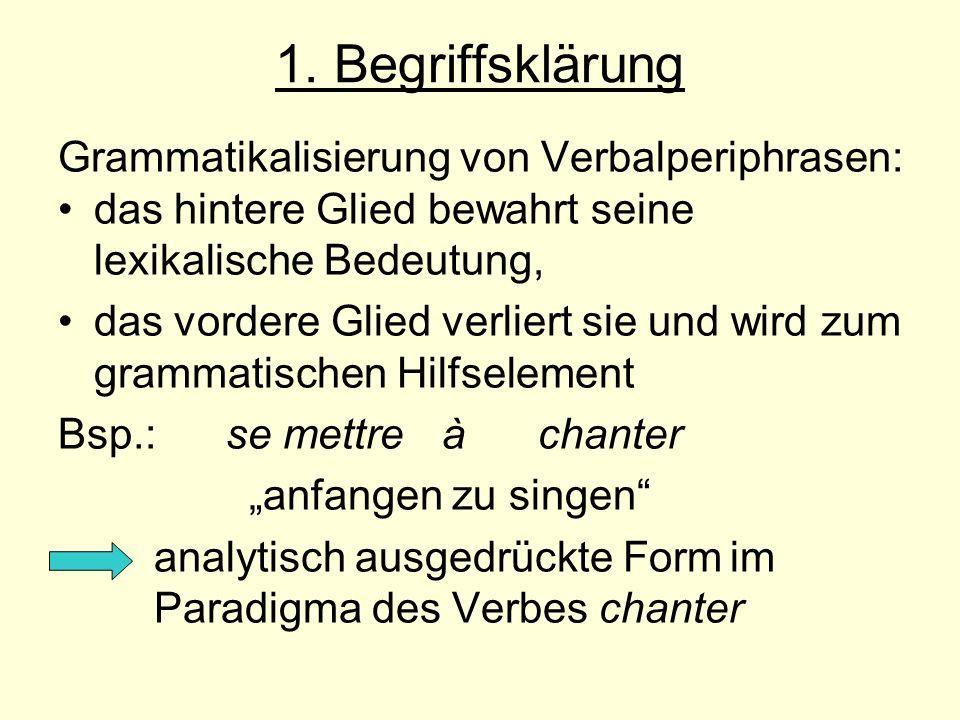 1. Begriffsklärung Grammatikalisierung von Verbalperiphrasen: das hintere Glied bewahrt seine lexikalische Bedeutung, das vordere Glied verliert sie u