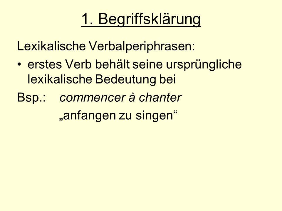 3.2 Reumuth/ Winkelmann Wiedergabe deutscher Adverbien über Verbalperiphrasen im Französischen: z.B.: gerade tun: être en train de gerade getan haben:venir de andauernd tun: ne pas cesser de, ne pas arrêter de schließlich tun:finir par weiterhin tun:continuer à/ de beinahe tun: