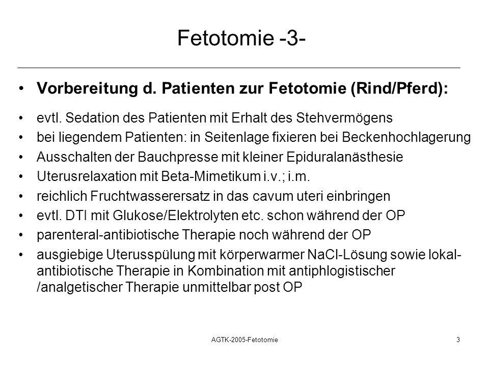 AGTK-2005-Fetotomie3 Fetotomie -3- Vorbereitung d. Patienten zur Fetotomie (Rind/Pferd): evtl. Sedation des Patienten mit Erhalt des Stehvermögens bei
