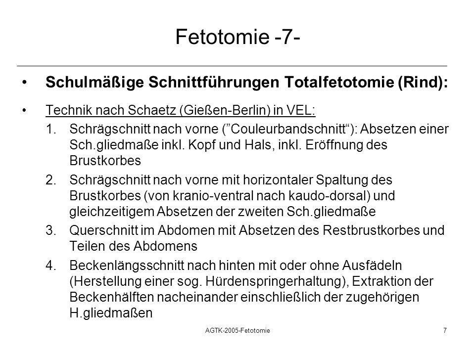 AGTK-2005-Fetotomie7 Fetotomie -7- Schulmäßige Schnittführungen Totalfetotomie (Rind): Technik nach Schaetz (Gießen-Berlin) in VEL: 1.Schrägschnitt na