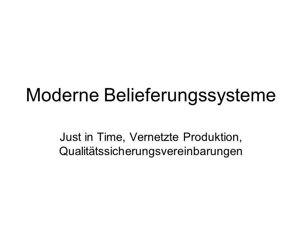 Moderne Belieferungssysteme Just in Time, Vernetzte Produktion, Qualitätssicherungsvereinbarungen