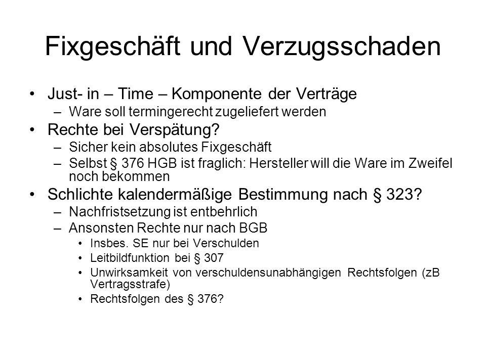 Fixgeschäft und Verzugsschaden Just- in – Time – Komponente der Verträge –Ware soll termingerecht zugeliefert werden Rechte bei Verspätung? –Sicher ke