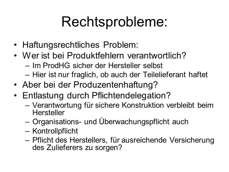 Rechtsprobleme: Haftungsrechtliches Problem: Wer ist bei Produktfehlern verantwortlich? –Im ProdHG sicher der Hersteller selbst –Hier ist nur fraglich