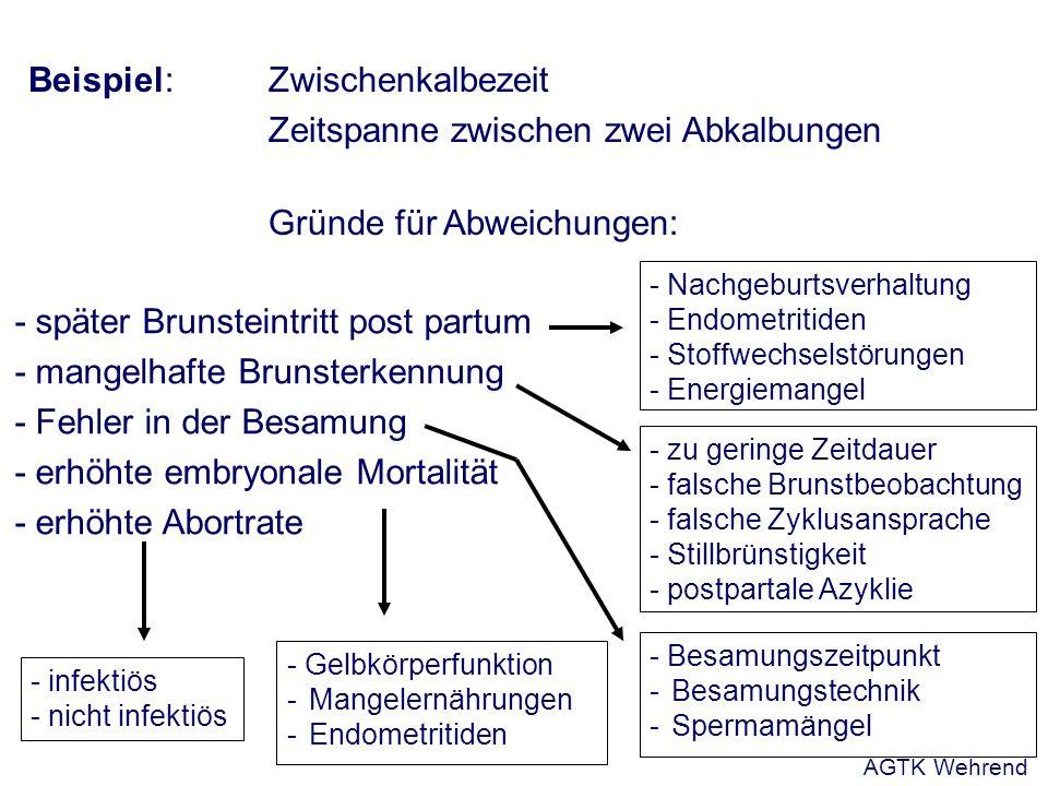 Beispiel:Zwischenkalbezeit Zeitspanne zwischen zwei Abkalbungen Gründe für Abweichungen: - später Brunsteintritt post partum - mangelhafte Brunsterkennung - Fehler in der Besamung - erhöhte embryonale Mortalität - erhöhte Abortrate - Nachgeburtsverhaltung - Endometritiden - Stoffwechselstörungen - Energiemangel - zu geringe Zeitdauer - falsche Brunstbeobachtung - falsche Zyklusansprache - Stillbrünstigkeit - postpartale Azyklie - Besamungszeitpunkt - Besamungstechnik - Spermamängel - infektiös - nicht infektiös - Gelbkörperfunktion - Mangelernährungen - Endometritiden AGTK Wehrend