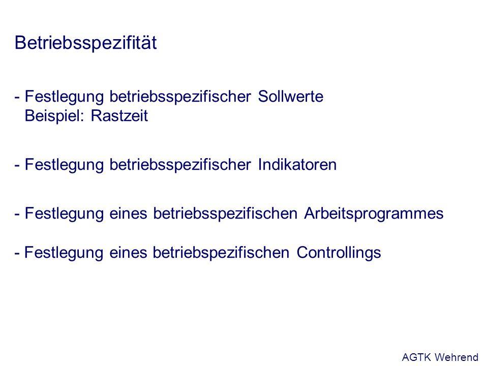 Betriebsspezifität - Festlegung betriebsspezifischer Sollwerte Beispiel: Rastzeit - Festlegung betriebsspezifischer Indikatoren - Festlegung eines betriebsspezifischen Arbeitsprogrammes - Festlegung eines betriebspezifischen Controllings AGTK Wehrend