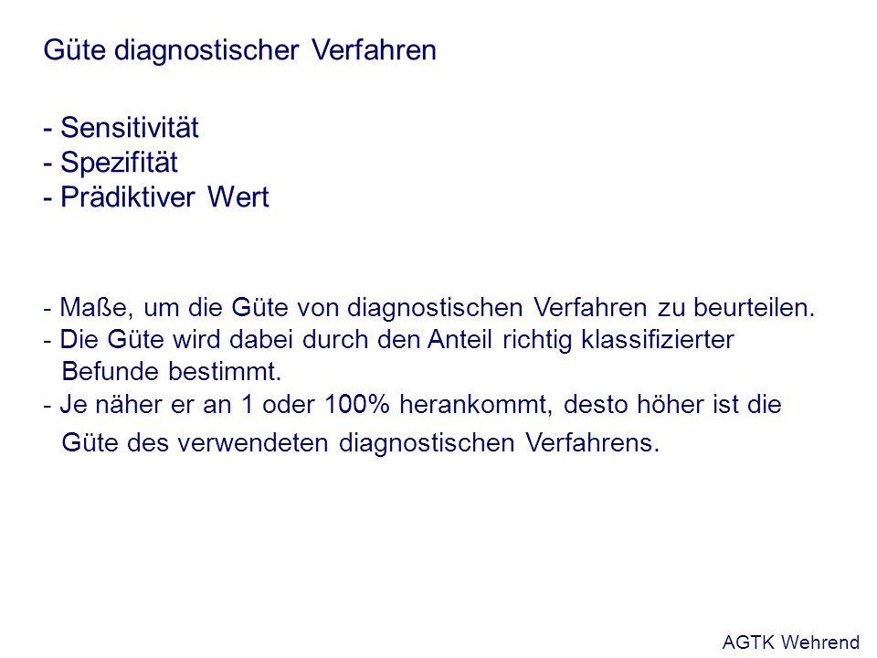 Güte diagnostischer Verfahren - Sensitivität - Spezifität - Prädiktiver Wert - Maße, um die Güte von diagnostischen Verfahren zu beurteilen.