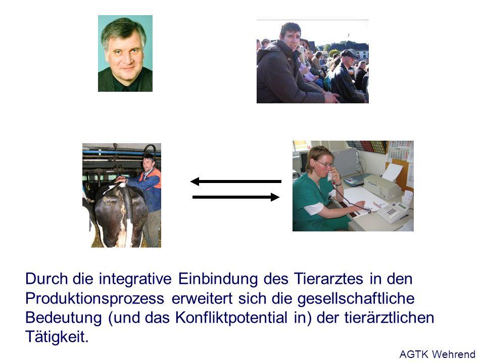 Durch die integrative Einbindung des Tierarztes in den Produktionsprozess erweitert sich die gesellschaftliche Bedeutung (und das Konfliktpotential in) der tierärztlichen Tätigkeit.