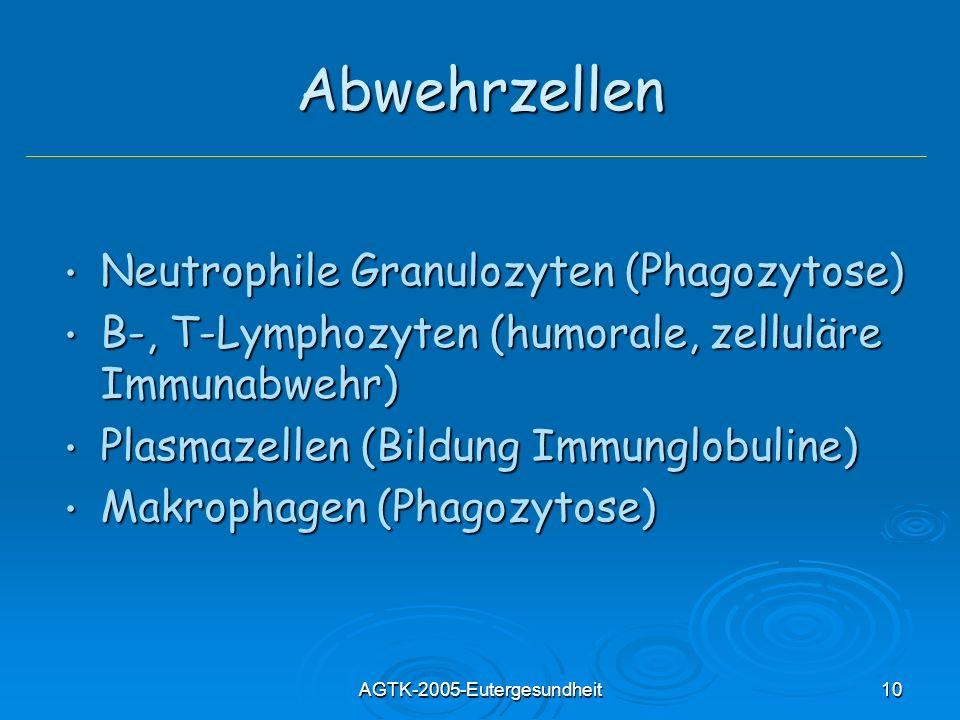 AGTK-2005-Eutergesundheit10 Abwehrzellen Neutrophile Granulozyten (Phagozytose) Neutrophile Granulozyten (Phagozytose) B-, T-Lymphozyten (humorale, zelluläre Immunabwehr) B-, T-Lymphozyten (humorale, zelluläre Immunabwehr) Plasmazellen (Bildung Immunglobuline) Plasmazellen (Bildung Immunglobuline) Makrophagen (Phagozytose) Makrophagen (Phagozytose)