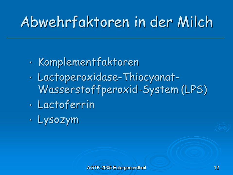 AGTK-2005-Eutergesundheit12 Abwehrfaktoren in der Milch Komplementfaktoren Komplementfaktoren Lactoperoxidase-Thiocyanat- Wasserstoffperoxid-System (L
