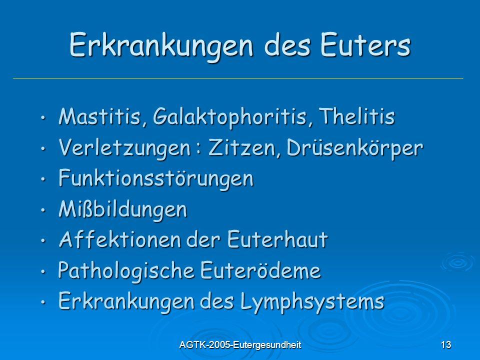 AGTK-2005-Eutergesundheit13 Erkrankungen des Euters Mastitis, Galaktophoritis, Thelitis Mastitis, Galaktophoritis, Thelitis Verletzungen : Zitzen, Drü