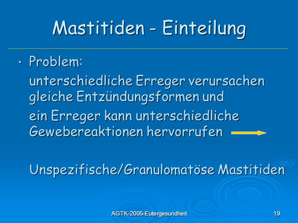 AGTK-2005-Eutergesundheit19 Mastitiden - Einteilung Problem: Problem: unterschiedliche Erreger verursachen gleiche Entzündungsformen und ein Erreger k