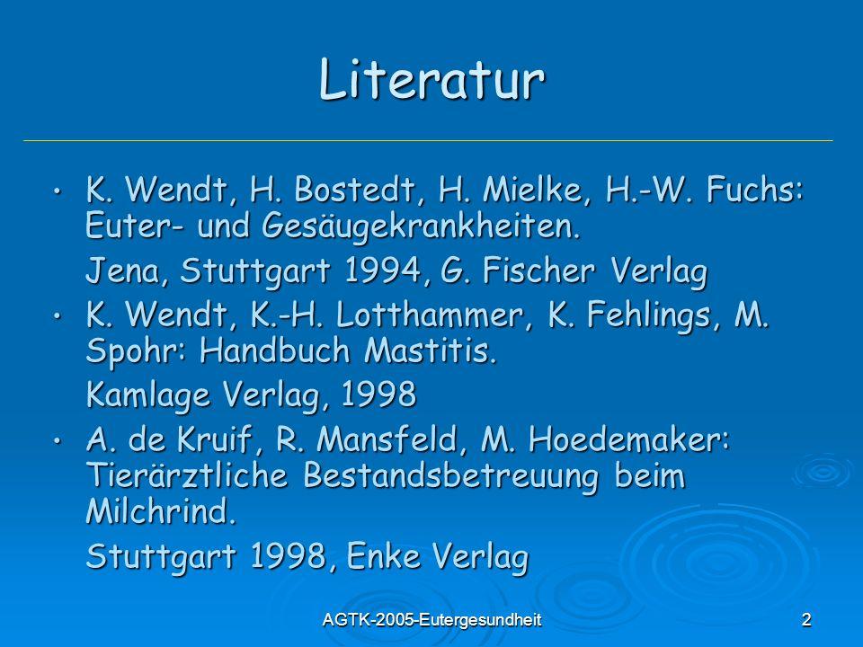 AGTK-2005-Eutergesundheit2 Literatur K. Wendt, H. Bostedt, H. Mielke, H.-W. Fuchs: Euter- und Gesäugekrankheiten. K. Wendt, H. Bostedt, H. Mielke, H.-