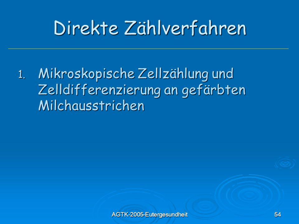 AGTK-2005-Eutergesundheit54 Direkte Zählverfahren 1. Mikroskopische Zellzählung und Zelldifferenzierung an gefärbten Milchausstrichen