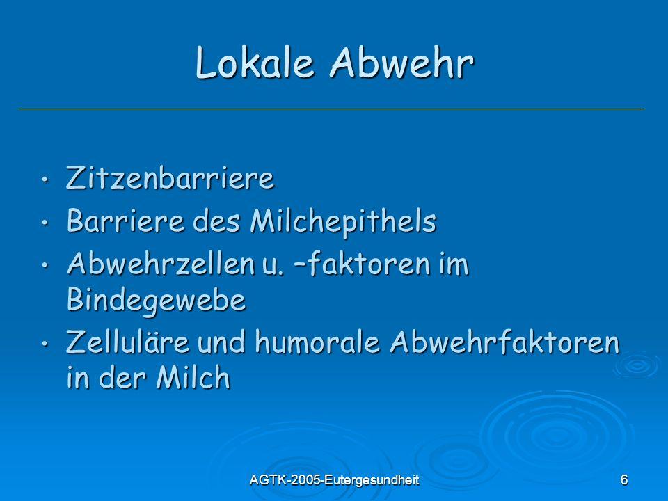 AGTK-2005-Eutergesundheit6 Lokale Abwehr Zitzenbarriere Zitzenbarriere Barriere des Milchepithels Barriere des Milchepithels Abwehrzellen u. –faktoren