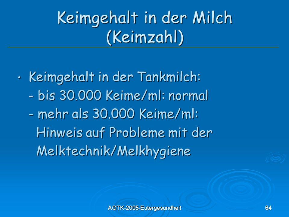 AGTK-2005-Eutergesundheit64 Keimgehalt in der Milch (Keimzahl) Keimgehalt in der Tankmilch: Keimgehalt in der Tankmilch: - bis 30.000 Keime/ml: normal
